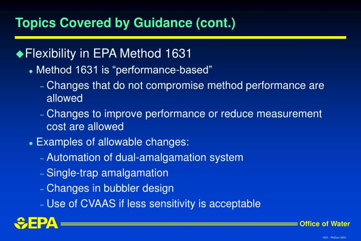 Topics Covered by Guidance (cont.)
