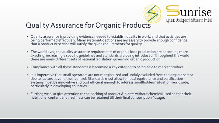 Quality Assurance for Organic Products