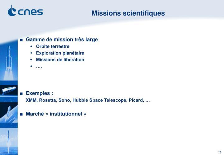 Missions scientifiques