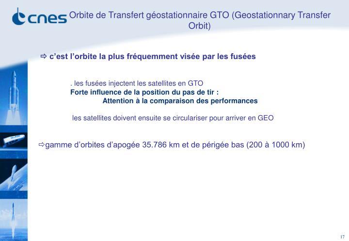 Orbite de Transfert géostationnaire GTO (Geostationnary Transfer Orbit)
