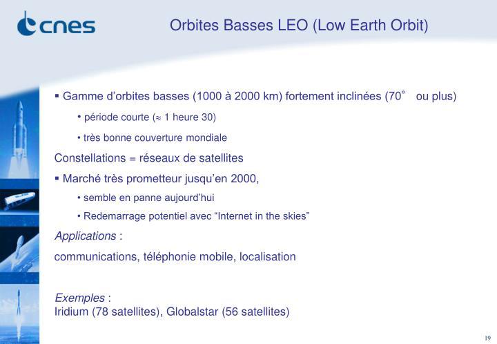Orbites Basses LEO (Low Earth Orbit)