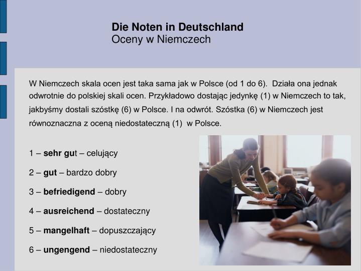 Die Noten in Deutschland