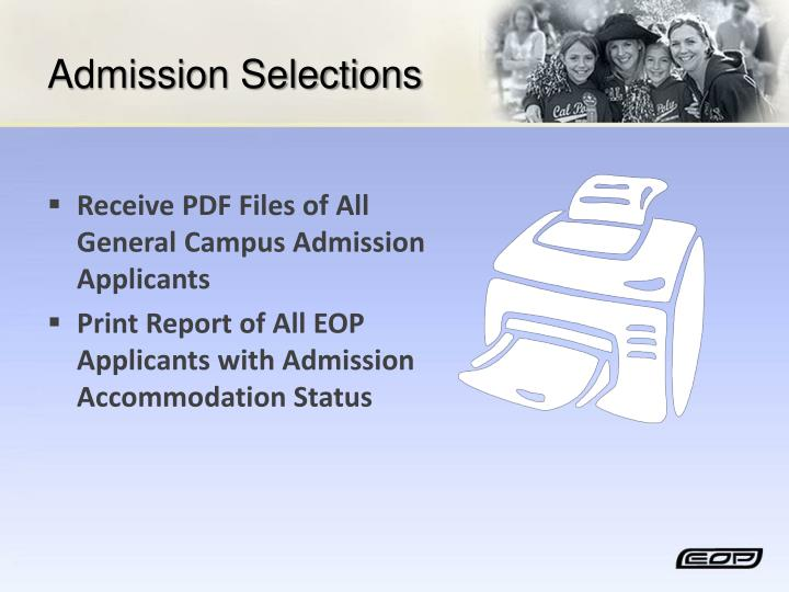 Admission Selections