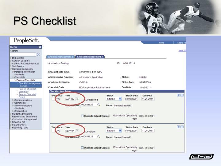 PS Checklist