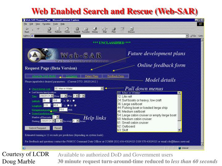 Web Enabled Search and Rescue (Web-SAR)