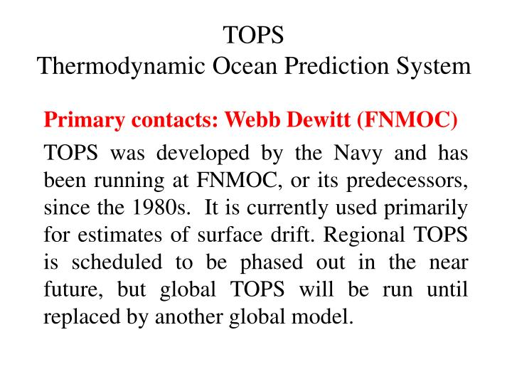 Tops thermodynamic ocean prediction system