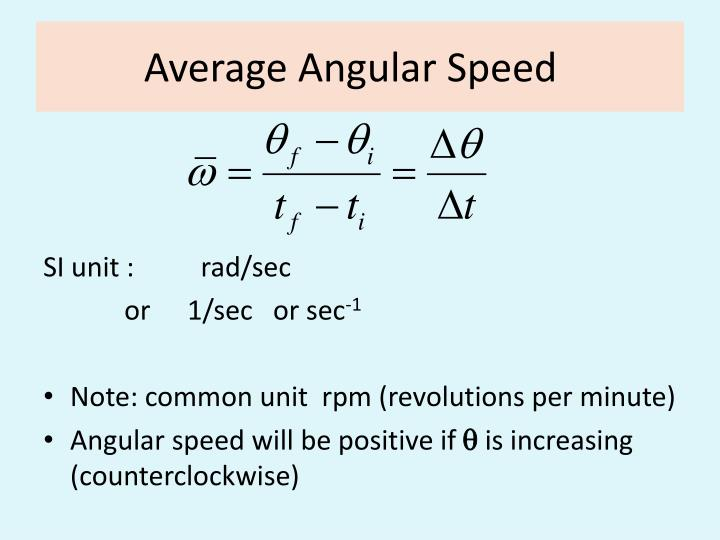 Average Angular Speed