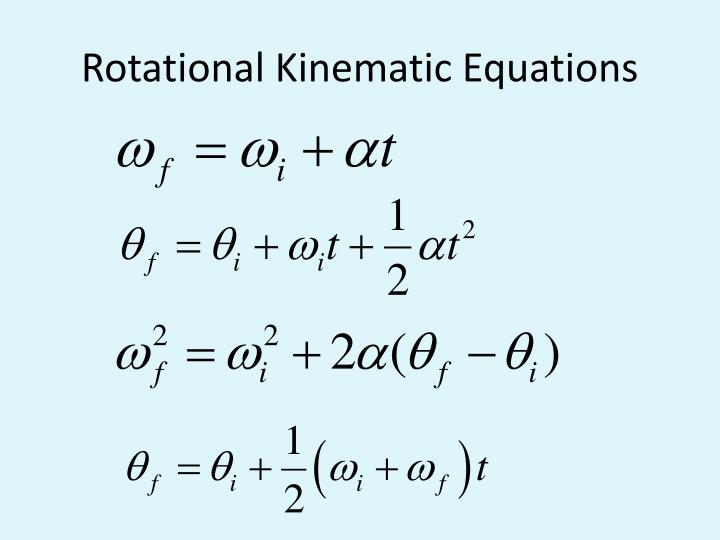 Rotational Kinematic Equations