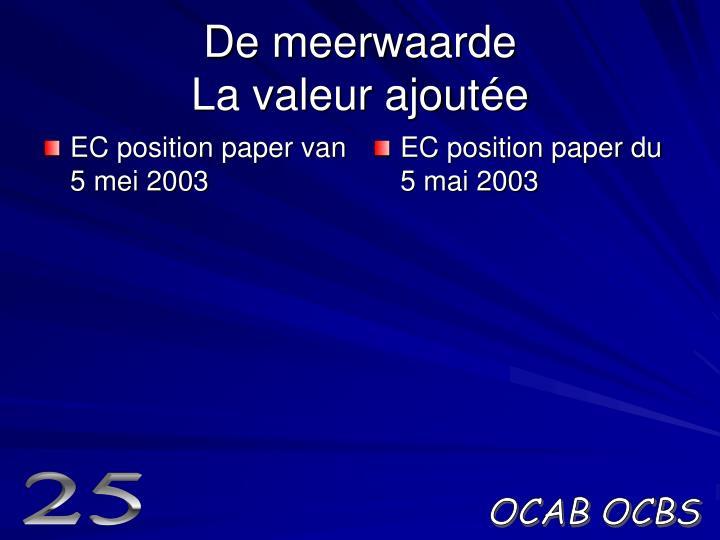 EC position paper van 5 mei 2003