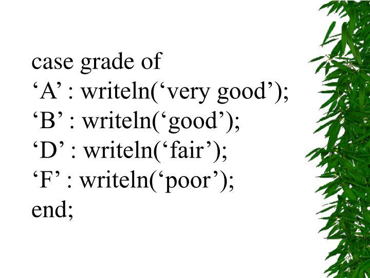 case grade of