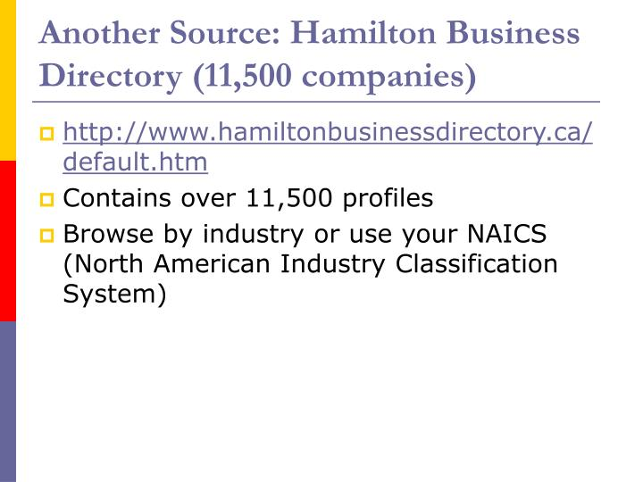 Another Source: Hamilton Business Directory (11,500 companies)