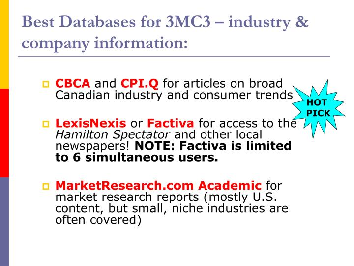 Best Databases for 3MC3 – industry & company information: