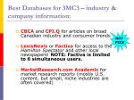 best databases for 3mc3 industry company information