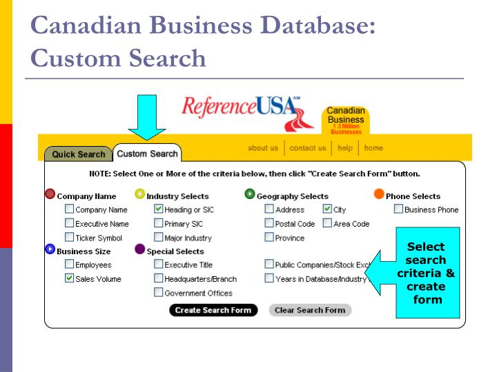 Canadian Business Database: