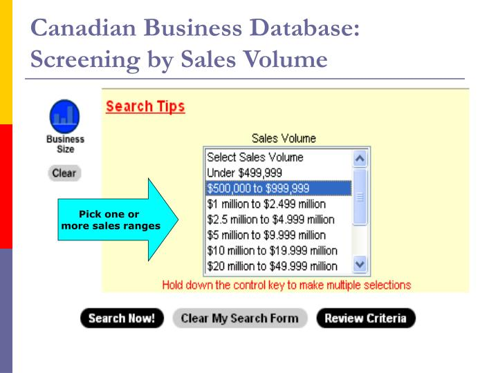 Canadian Business Database: Screening by Sales Volume
