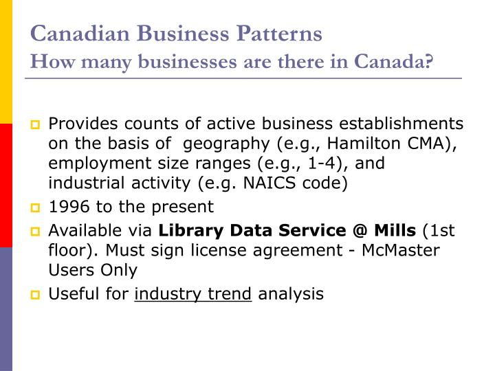 Canadian Business Patterns