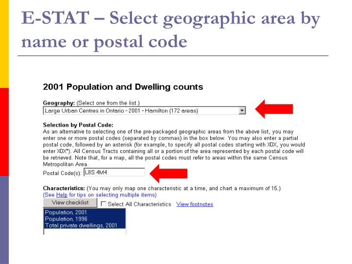 E-STAT – Select geographic area by name or postal code