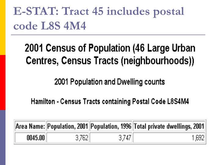 E-STAT: Tract 45 includes postal code L8S 4M4