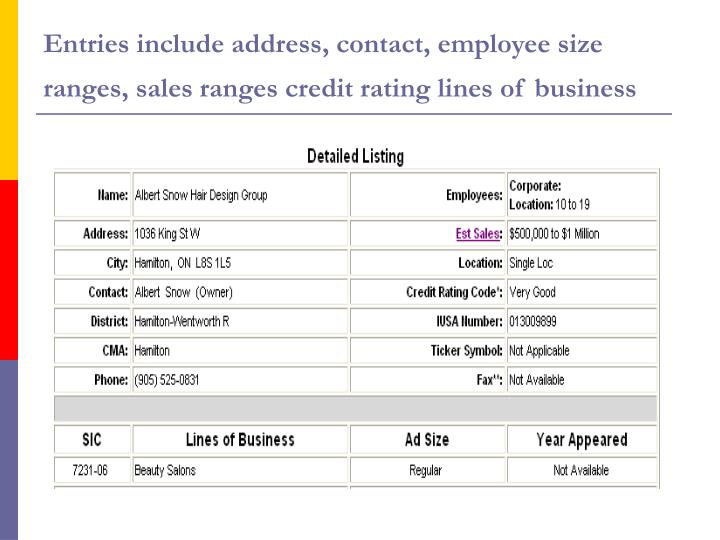 Entries include address, contact, employee size ranges, sales ranges credit rating lines of business