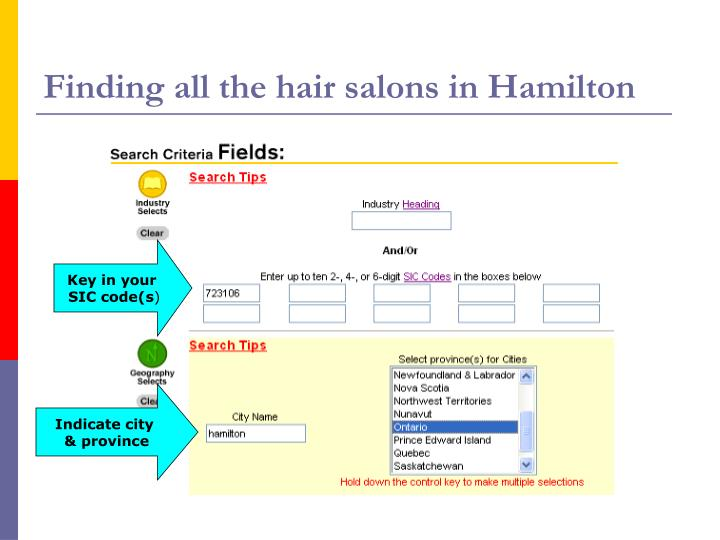 Finding all the hair salons in Hamilton