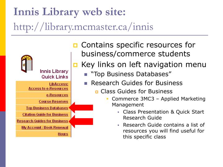 Innis Library web site: