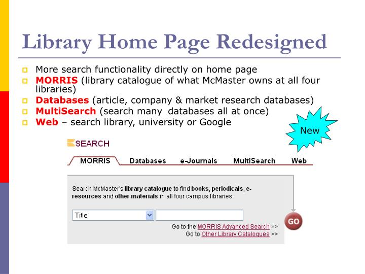 Library Home Page Redesigned