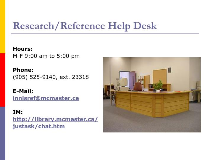 Research/Reference Help Desk
