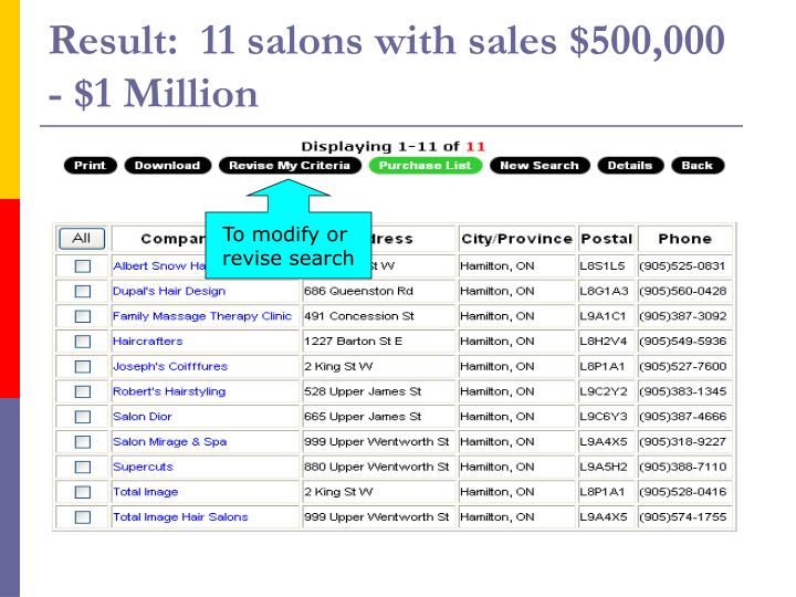 Result:  11 salons with sales $500,000 - $1 Million
