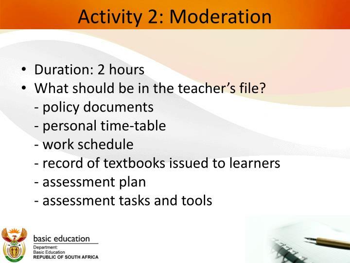 Activity 2: Moderation