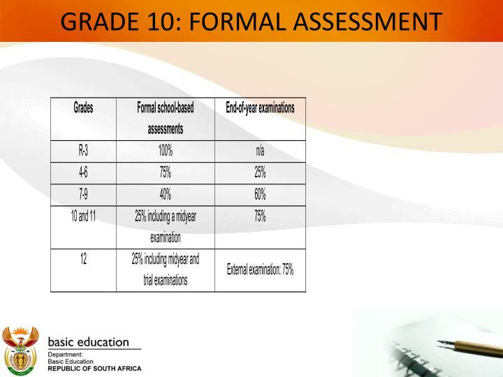 GRADE 10: FORMAL ASSESSMENT