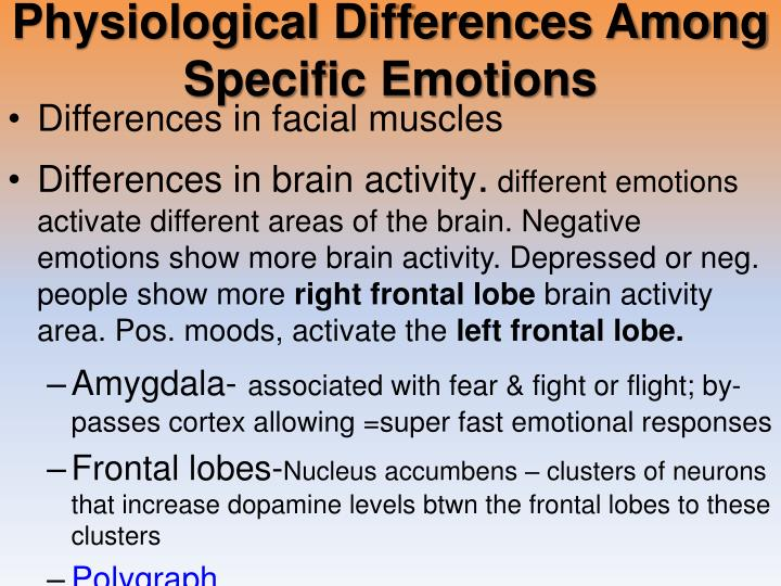 Physiological Differences Among Specific Emotions
