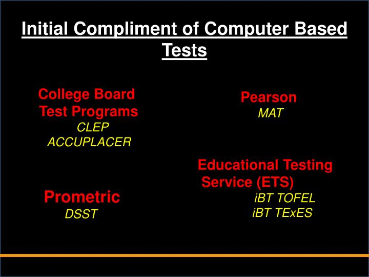 Initial Compliment of Computer Based Tests