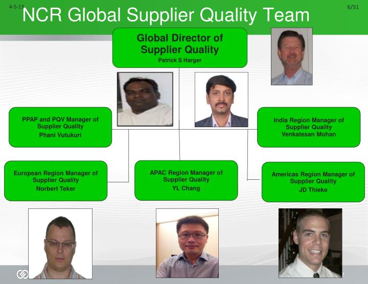 Ncr global supplier quality team