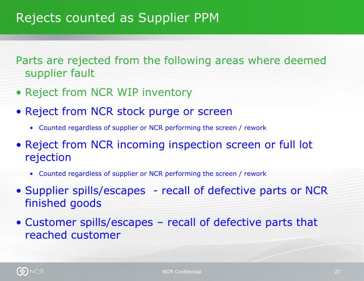 Rejects counted as Supplier PPM
