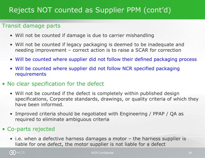 Rejects NOT counted as Supplier PPM (cont'd)
