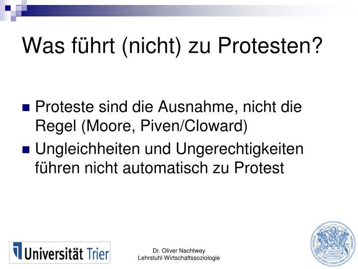 Was führt (nicht) zu Protesten?