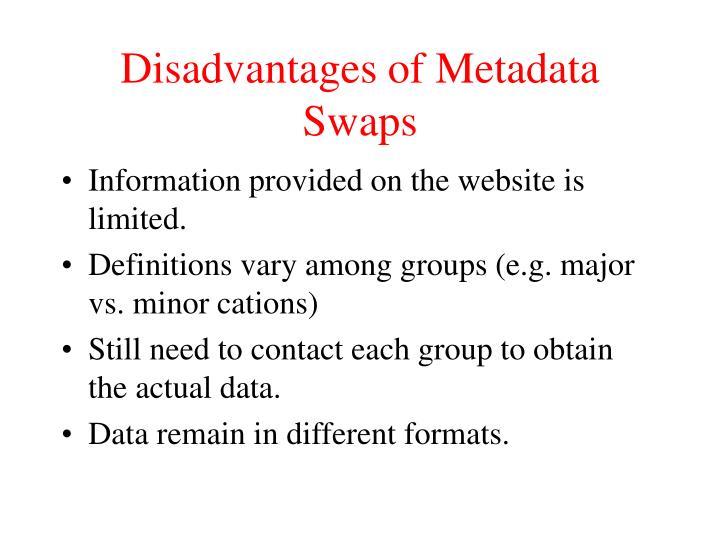 Disadvantages of Metadata Swaps
