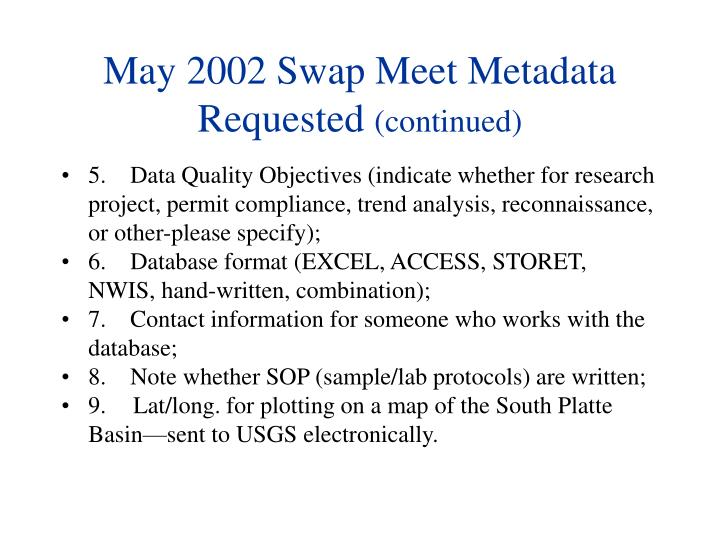 May 2002 Swap Meet Metadata Requested