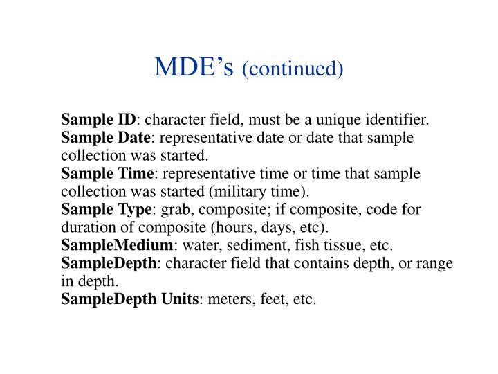 MDE's