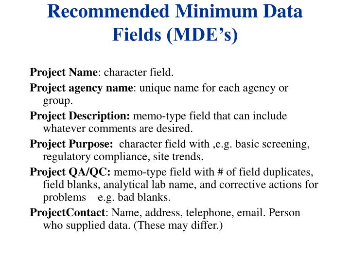Recommended Minimum Data Fields (MDE's)