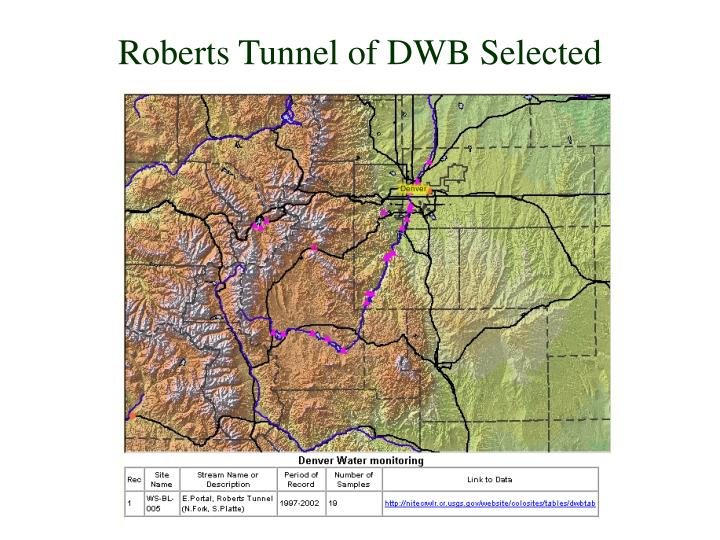 Roberts Tunnel of DWB Selected