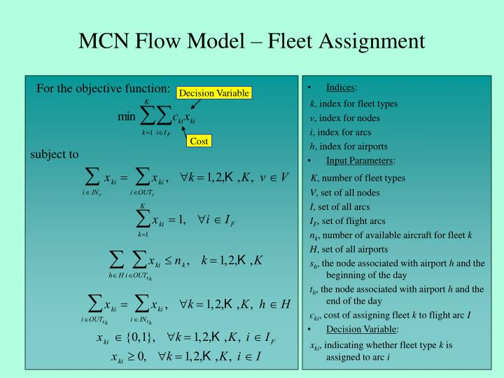 MCN Flow Model – Fleet Assignment