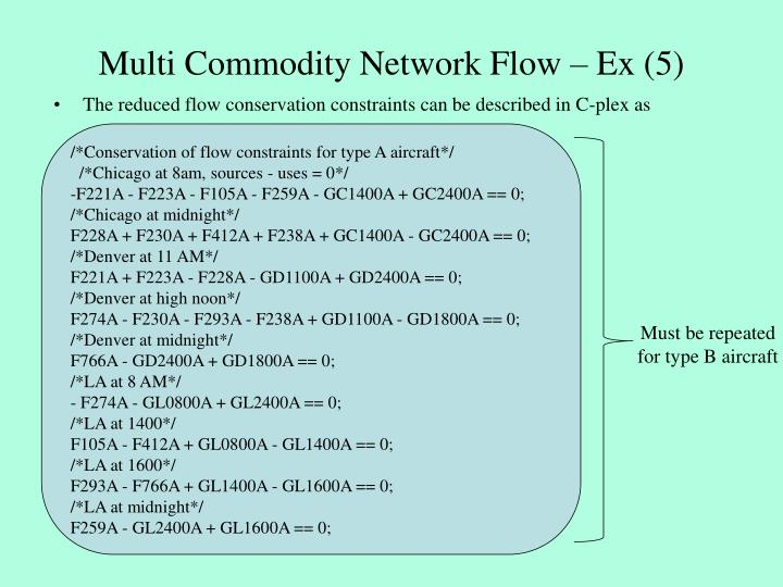 Multi Commodity Network Flow – Ex (5)