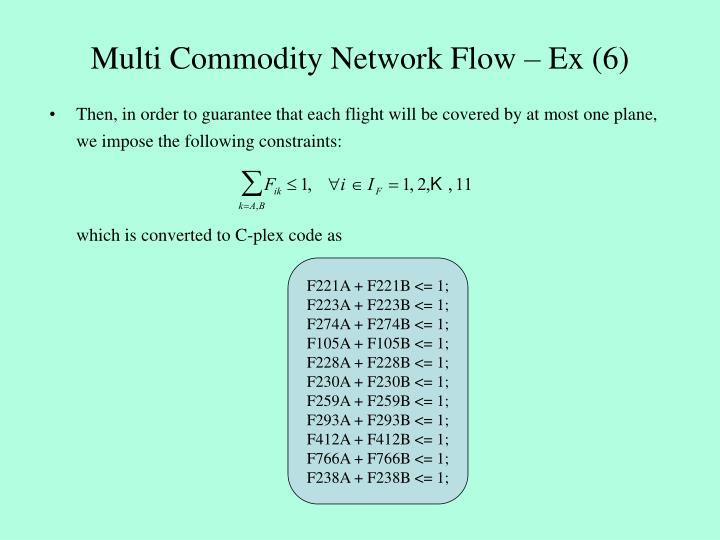 Multi Commodity Network Flow – Ex (6)