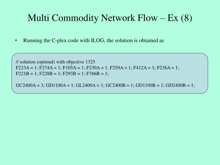 Multi Commodity Network Flow – Ex (8)