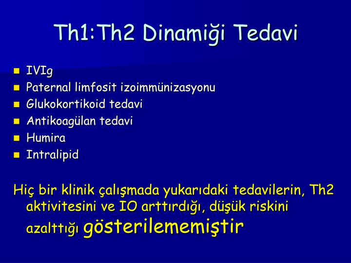 Th1:Th2 Dinamiği Tedavi