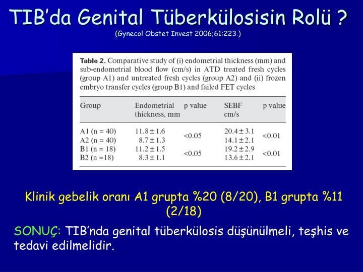 TIB'da Genital Tüberkülosisin Rolü ?