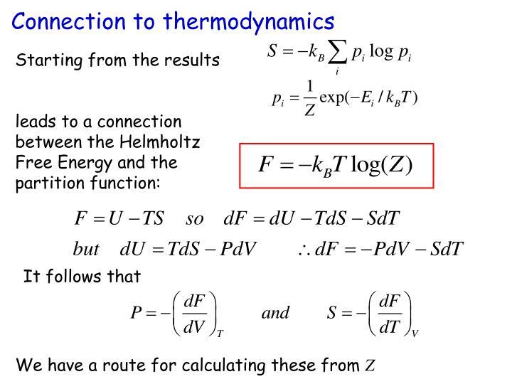Connection to thermodynamics