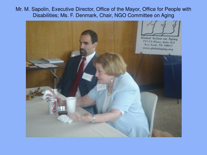 Mr. M. Sapolin, Executive Director, Office of the Mayor, Office for People with Disabilities; Ms. F. Denmark, Chair, NGO Committee on Aging