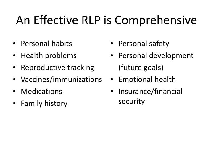 An Effective RLP is Comprehensive